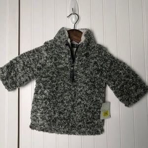 Starting our kids fuzzy quartet zip jacket grey